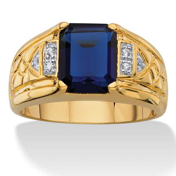 Men's 2 1/5ct TCW Emerald-cut Lab Created Blue Sapphire and Diamond Accent 18k Goldplated