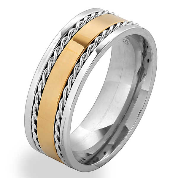 Men's Goldplated Stainless Steel Twisted Rope Inlay Band Ring - Silver
