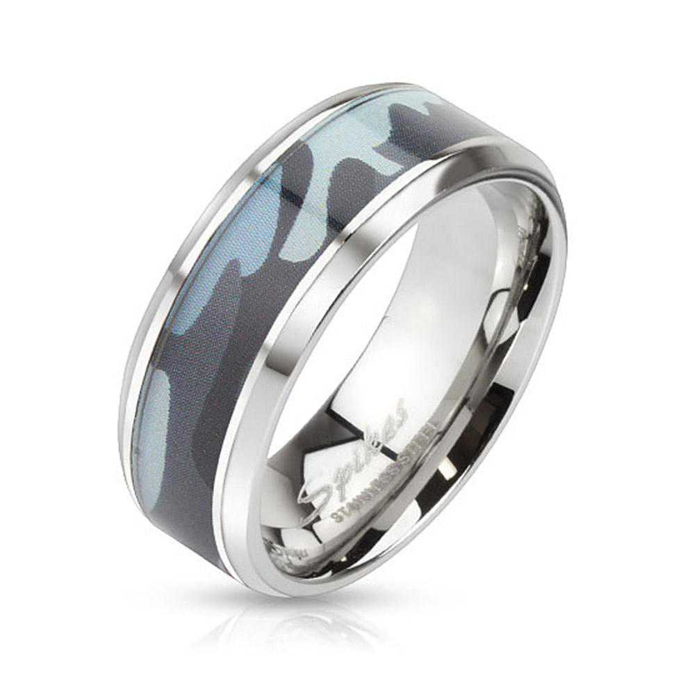Blue Camouflage Inlay Stainless Steel Beveled Edge Band Ring