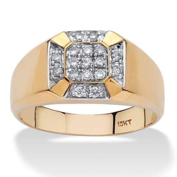 10k Yellow Gold Men's 1/4ct TDW Diamond Cross Ring (H-I, I2-I3)