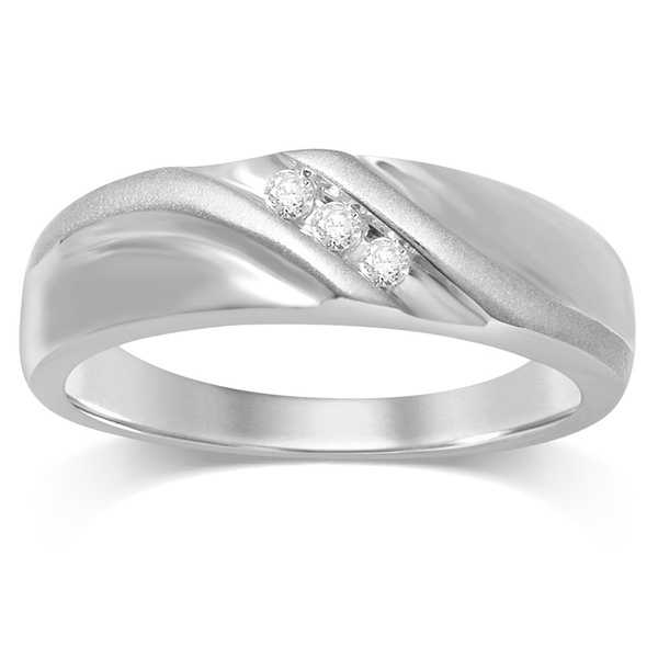 Unending Love 10k White Gold Men's 1/10ct TDW 3-stone Diamond Ring (H-I, I2-I3)