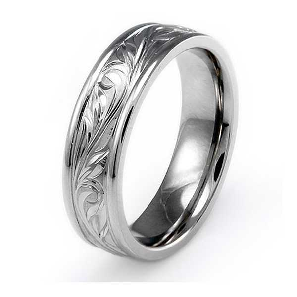 Handcrafted Floral Design Titanium Ring