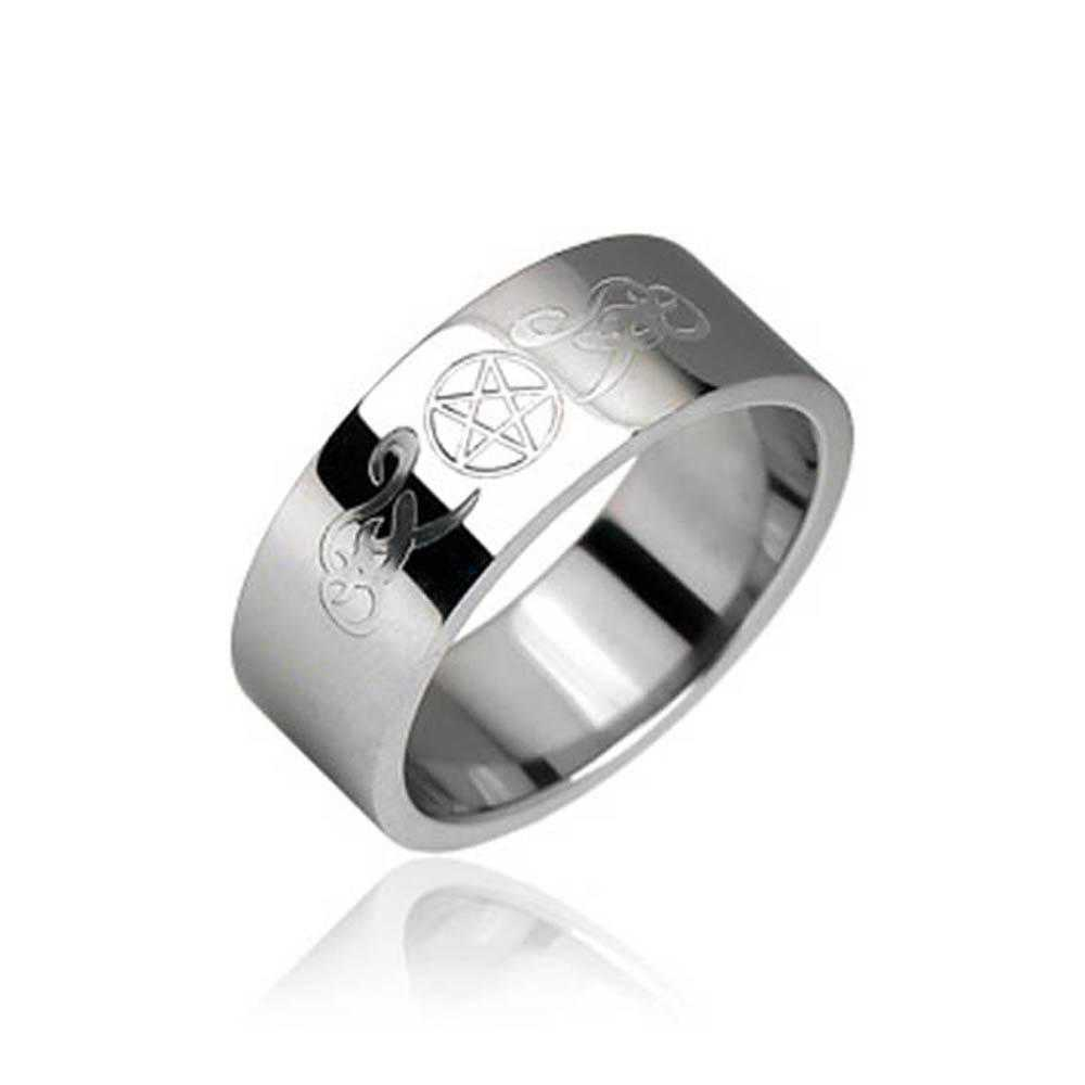 Surgical Stainless Steel with Pentagram and Tribal Designs Ring