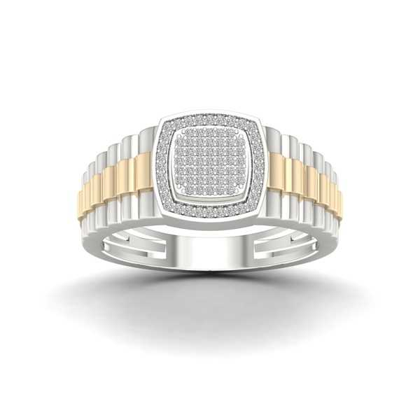 Sterling Silver 1/4ct TDW Diamond Men's Ring - White