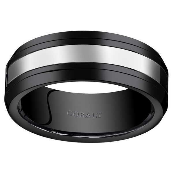 Oravo Men's Black Ceramic and Cobalt 8-millimeter Wedding Band Ring