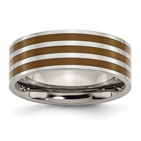 Titanium Brown Enamel Flat 8mm Band