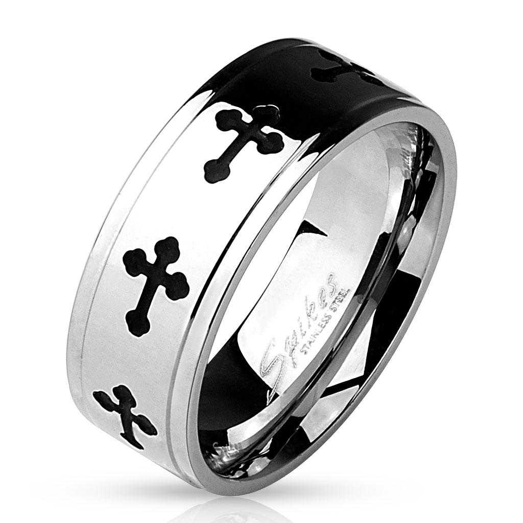 Black IP Celtic Crosses with Grooved Edges 316L Stainless Steel Ring