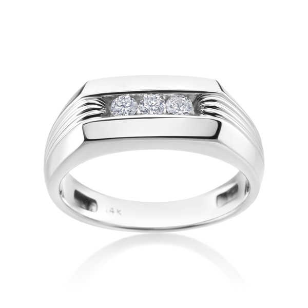 Andrew Charles 14k White Gold Men's 1/4ct TDW Diamond Ring