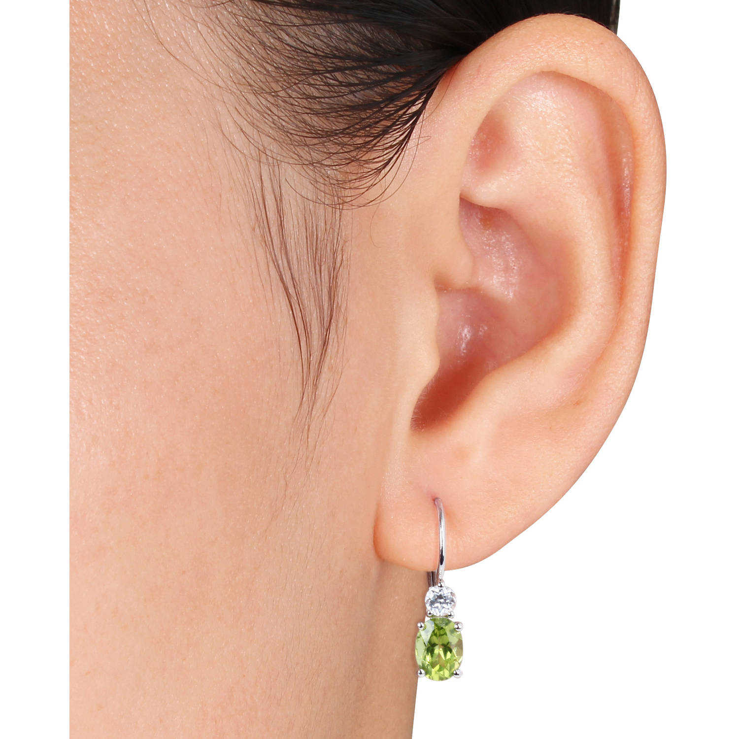 3-1/7 Carat T.G.W. Peridot and Created White Sapphire Sterling Silver Leverback Earrings