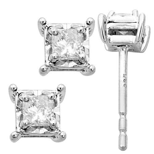 Tru Miracle 1/4 Carat T.W. Princess-Cut Diamond Sterling Silver Stud Earrings