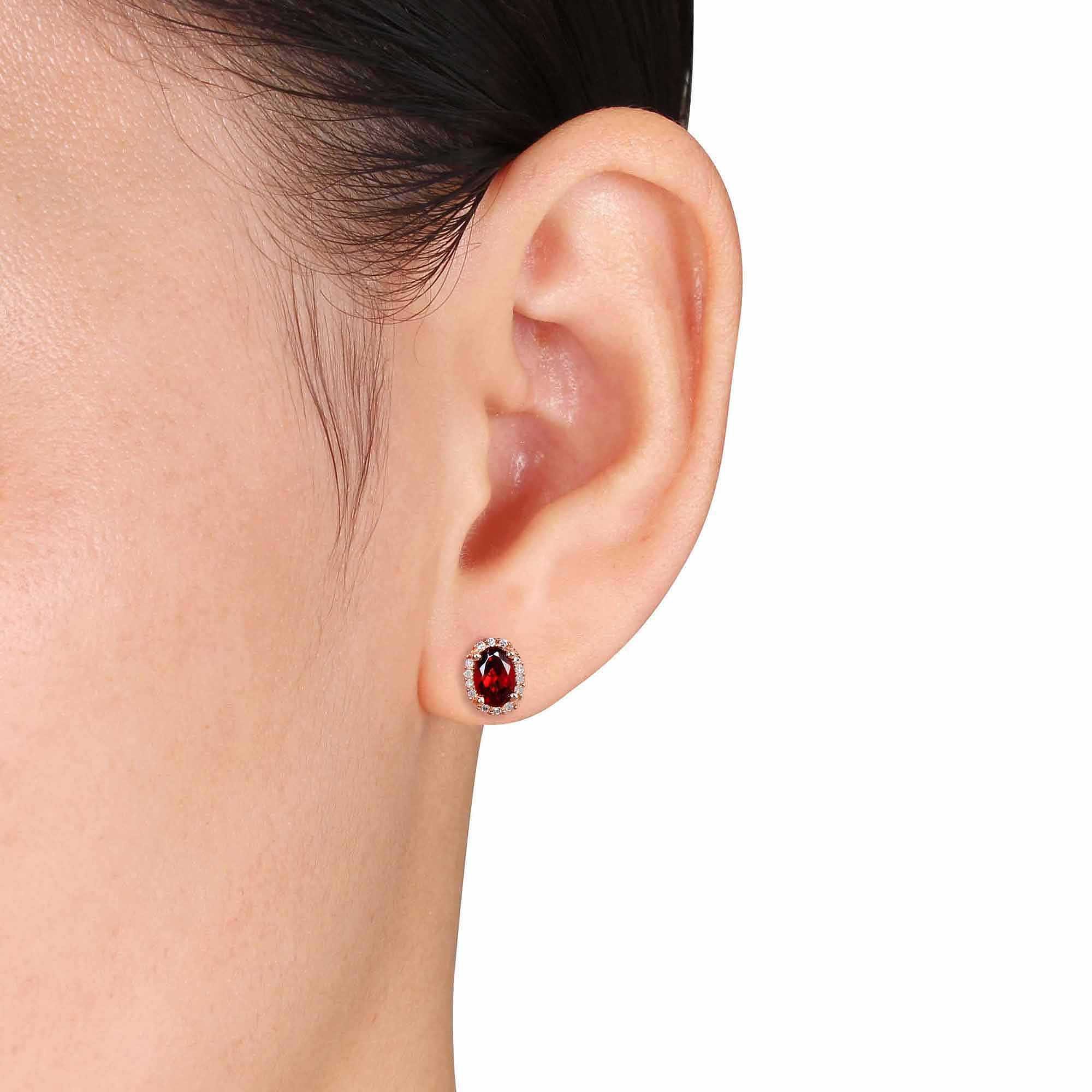 1-1/10 Carat T.G.W. Garnet and Diamond Accent 10kt Pink Gold Halo Earrings