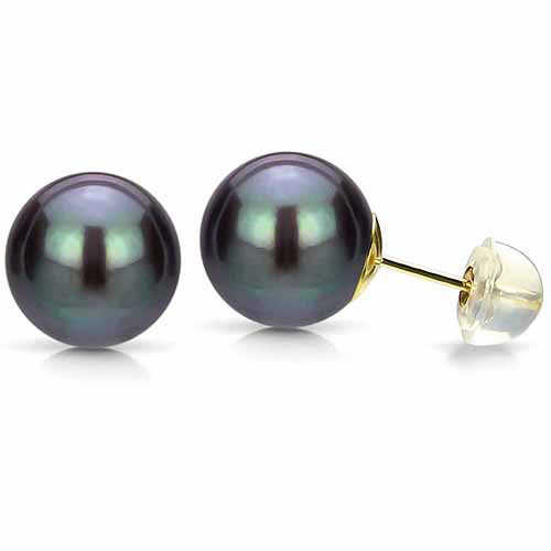11-12mm Black Perfect Round High-Luster Freshwater Pearl 14kt Yellow Gold Stud Earrings