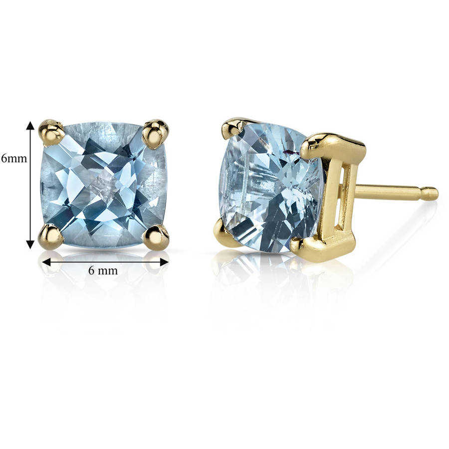 Oravo 1.50 Carat T.G.W. Cushion-Cut Aquamarine 14kt Yellow Gold Stud Earrings