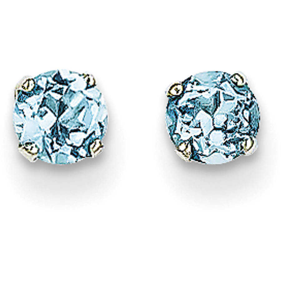 Blue Topaz 14kt White Gold 4mm Stud Earrings