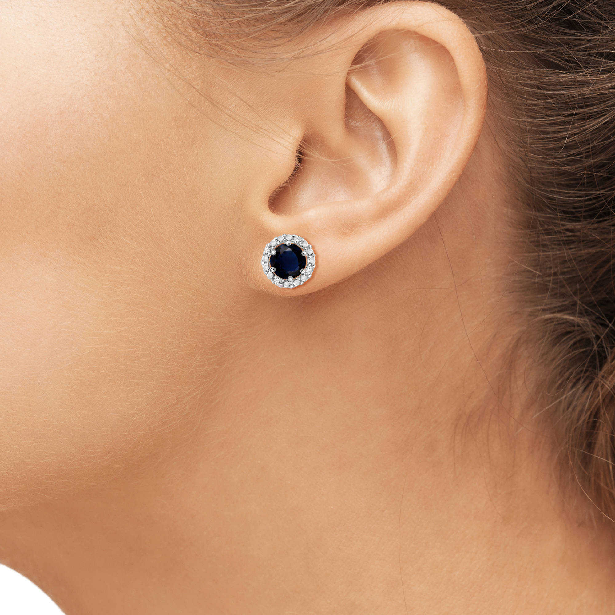 JewelersClub 2-1/2 Carat T.G.W. Sapphire and White Diamond Accent Sterling Silver Halo Earrings