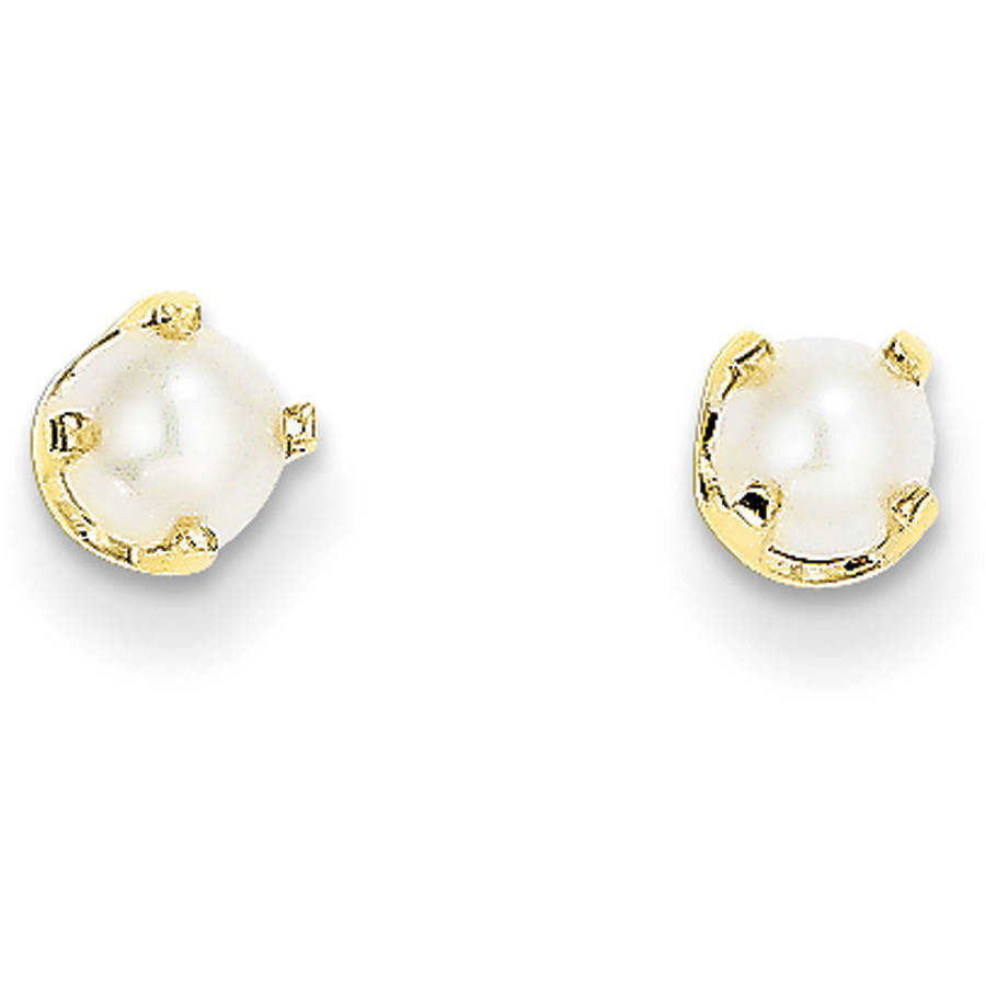Freshwater Cultured Pearl 14kt Yellow Gold 4mm June Post Earrings