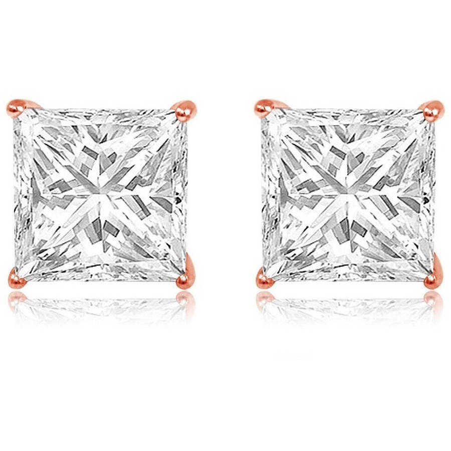 A&M CZ 14kt Rose Gold Square Stud Earrings, 4mm