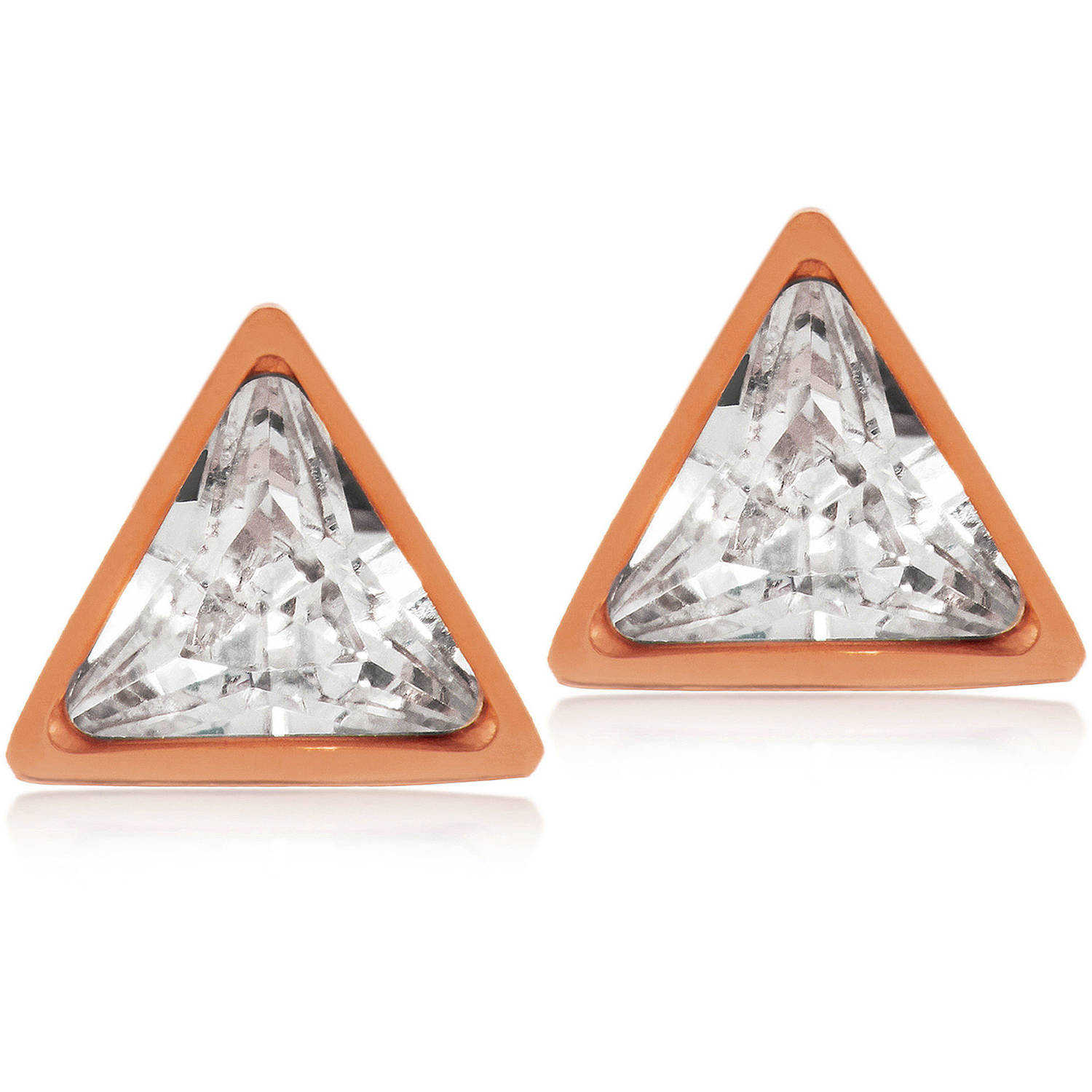 ELYA CZ Rose Gold IP Triangle Stainless Steel Stud Earrings