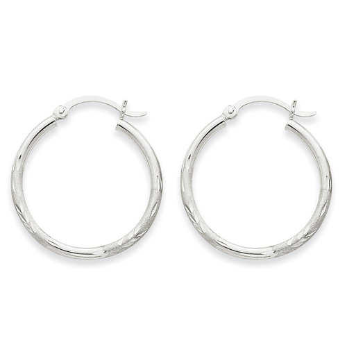 14kt White Gold Satin and Diamond-Cut 2mm Round Hoop Earrings