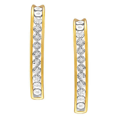 Diamond-Accent Gold-Plated Oval Hoop Earrings