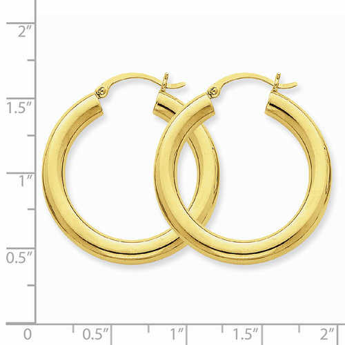 14k Polished 4mm x 30mm Tube Hoop Earrings