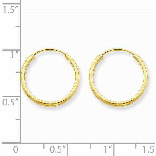 14kt Yellow Gold 1.5mm Polished Round Endless Hoop Earrings