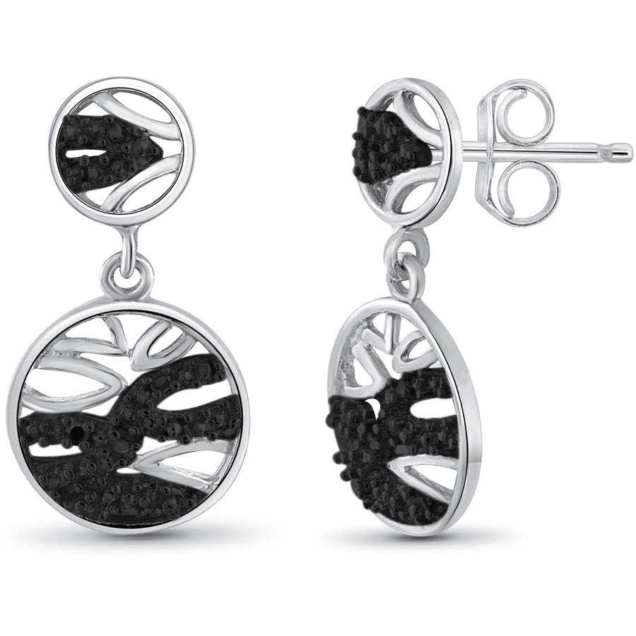JewelersClub Black Diamond Accent Sterling Silver Earrings