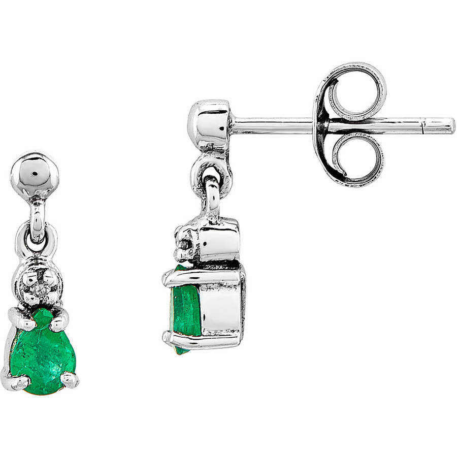 Emerald and Diamond 14kt White Gold Dangle Post Earrings