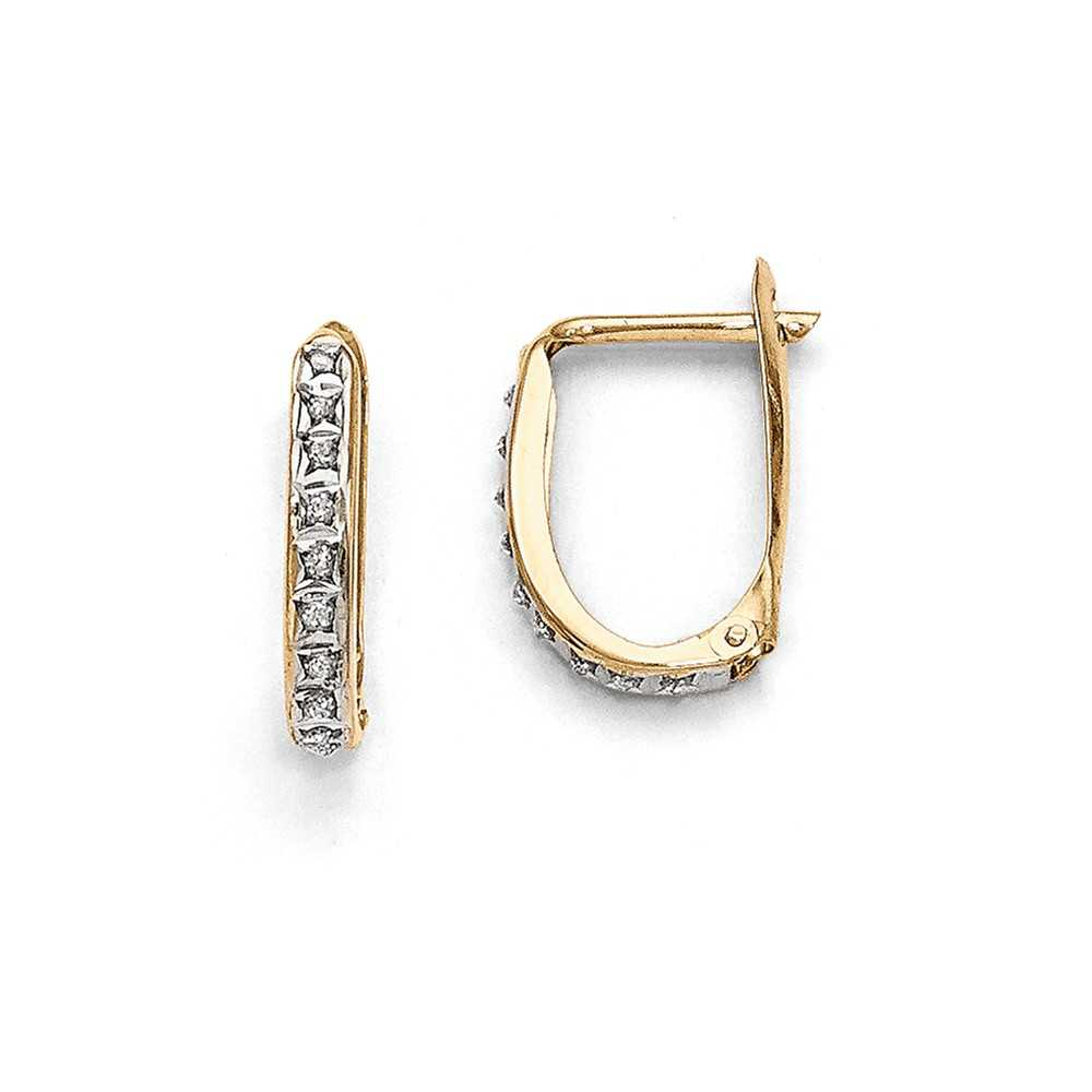 14K Yellow Gold (0.01cttw) Diamond Fascination Leverback Hinged Hoop Earrings (16mm x 2mm)