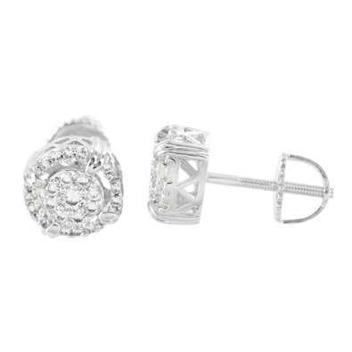 Round Screw Back Earrings Mens Womens 14K White Gold Tone Simulated Diamond