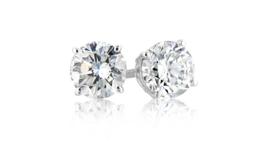 iParis Sterling Silver 1 Carat Round White Sapphire Stud Earrings