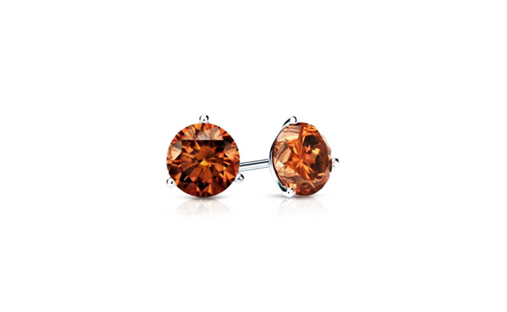 iParis Platinum Over Sterling Silver 4 Ct Round Brown Sapphire Stud Earrings