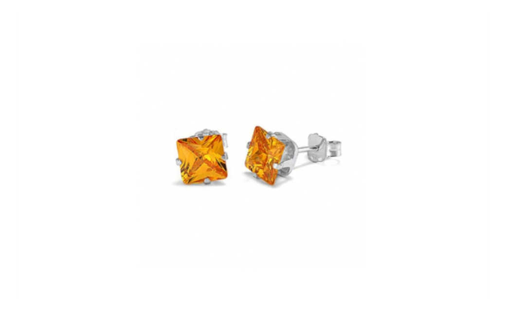 iParis Platinum Over Sterling Silver 4 Ct Princess Brown Sapphire Stud Earrings