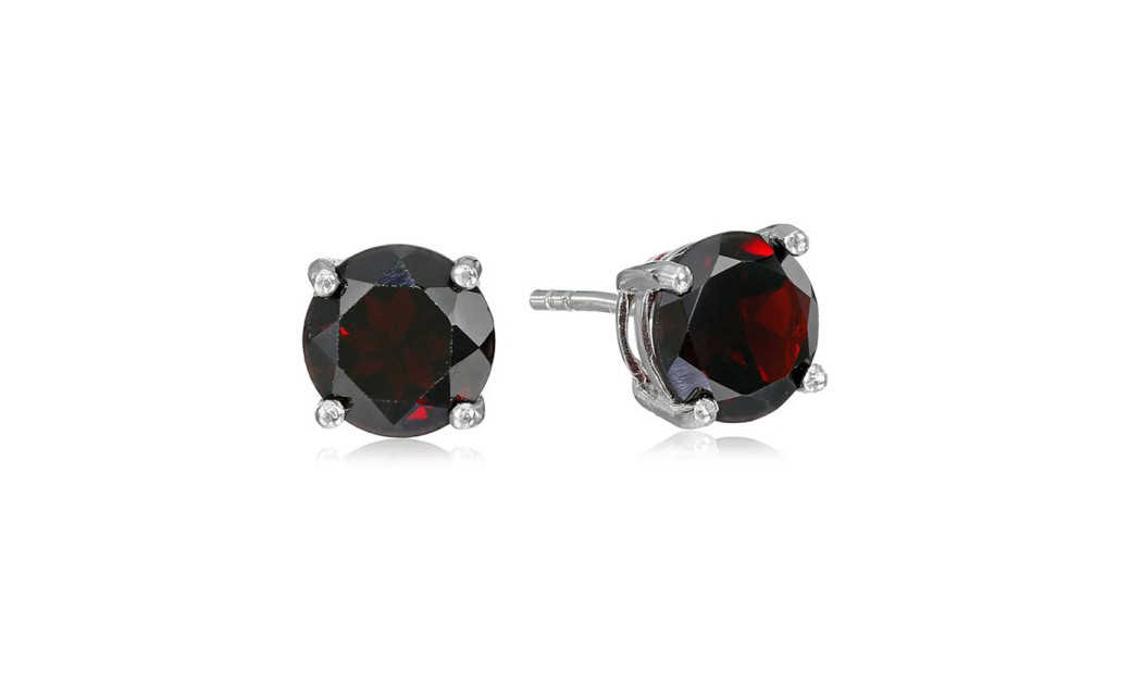 iParis Platinum Over Sterling Silver 1 Ct Round Red Sapphire Stud Earrings