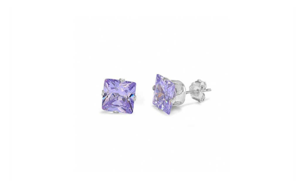 iParis Platinum Over Sterling Silver 4 Ct Purple Princess Sapphire Stud Earrings