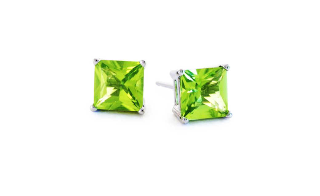iParis 10k White Gold Over Sterling Silver 1 Ct Princess Green Sapphire Stud Earrings