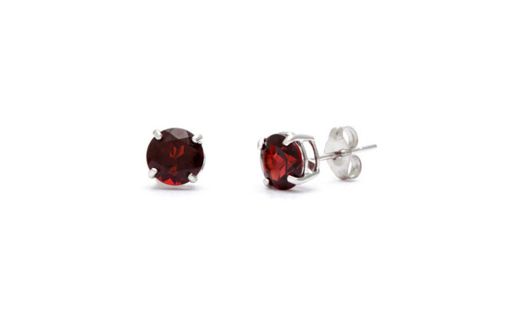 iParis 14k White Gold Over Sterling Silver 3 Ct Round Red Sapphire Stud Earrings
