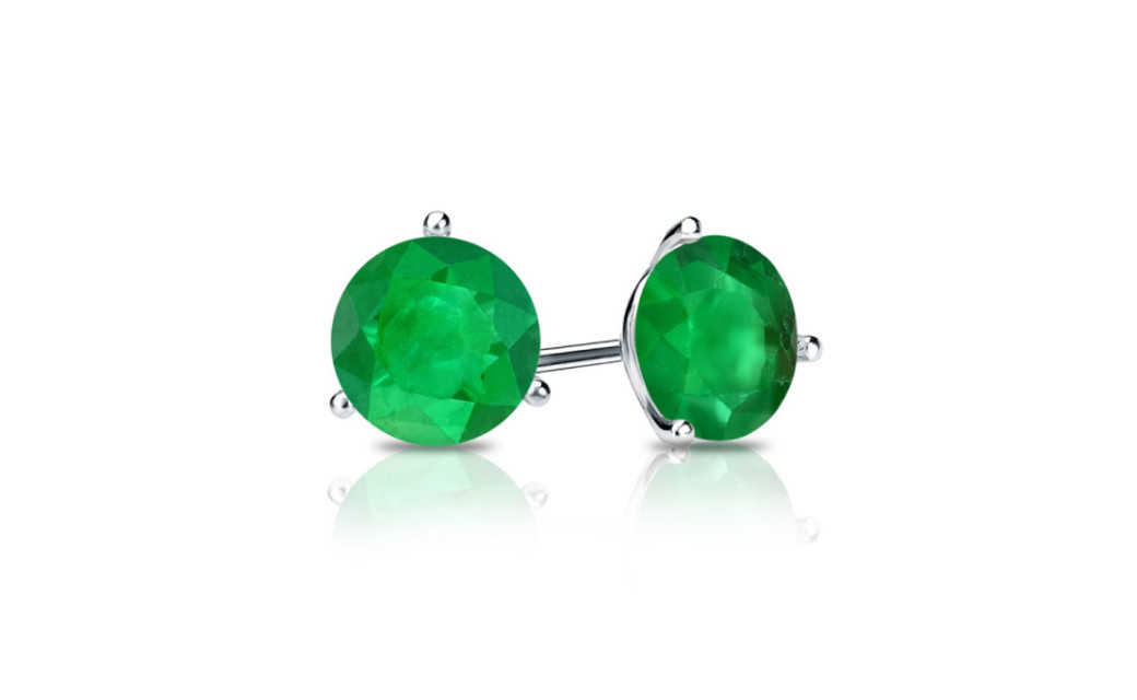 iParis Sterling Silver 2 Carat Round Green Sapphire Stud Earrings