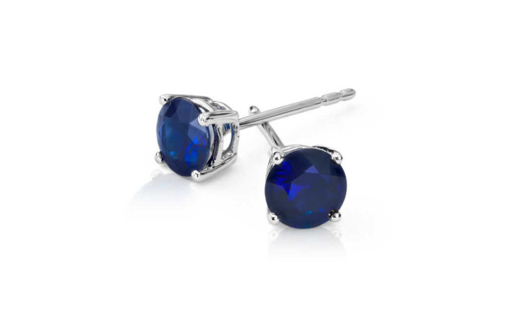 iParis 14k White Gold Over Sterling Silver 4 Ct Round Blue Sapphire Stud Earrings