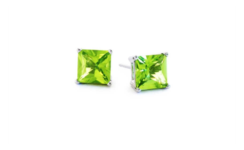 iParis 14k White Gold Over Sterling Silver 1 Ct Princess Green Sapphire Stud Earrings