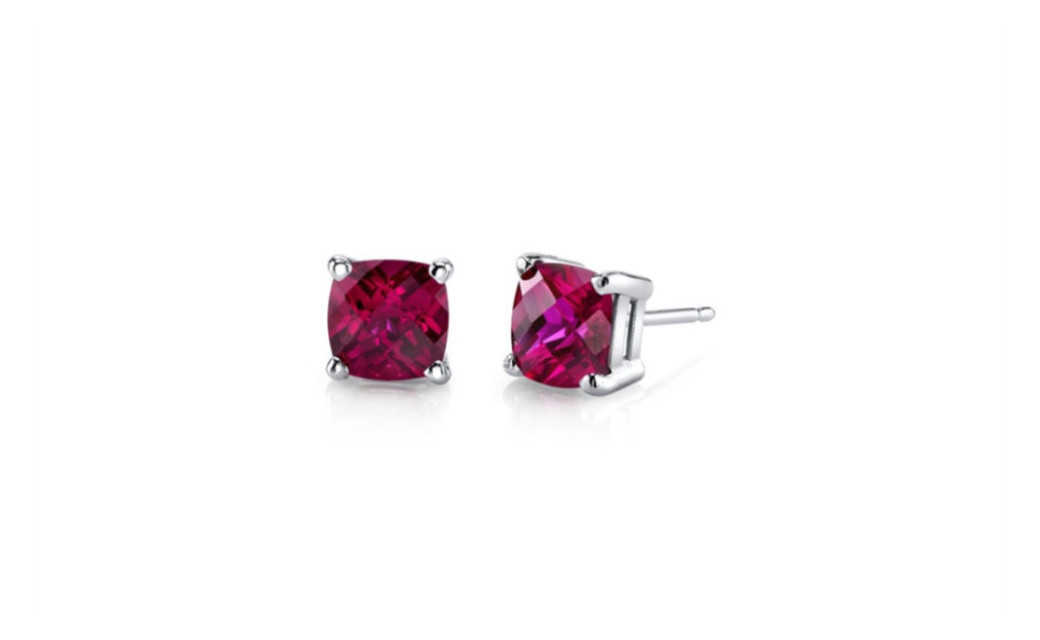 iParis 18k White Gold Over Sterling Silver 3 Ct Princess Red Sapphire Stud Earrings