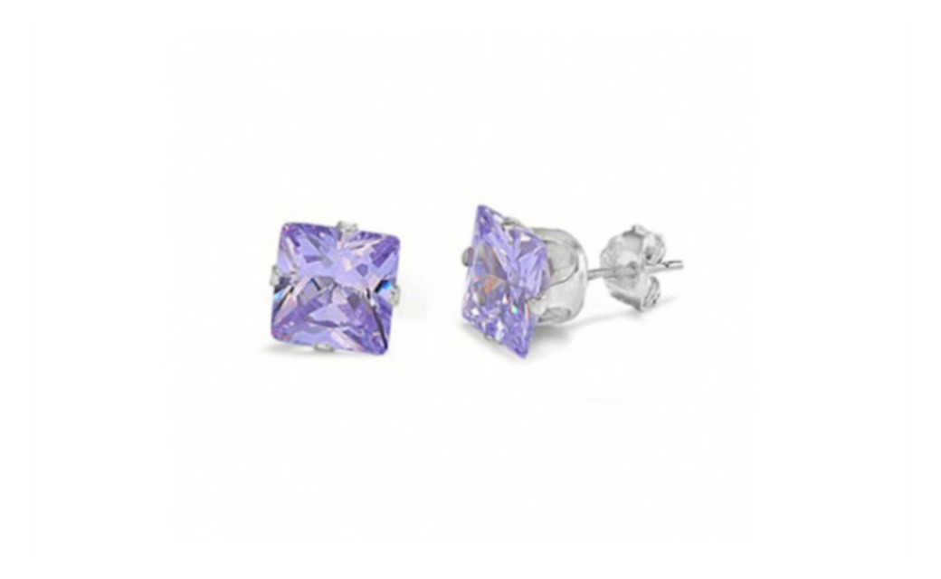 iParis 10k White Gold Over Sterling Silver 3 Ct Princess Purple Sapphire Stud Earrings