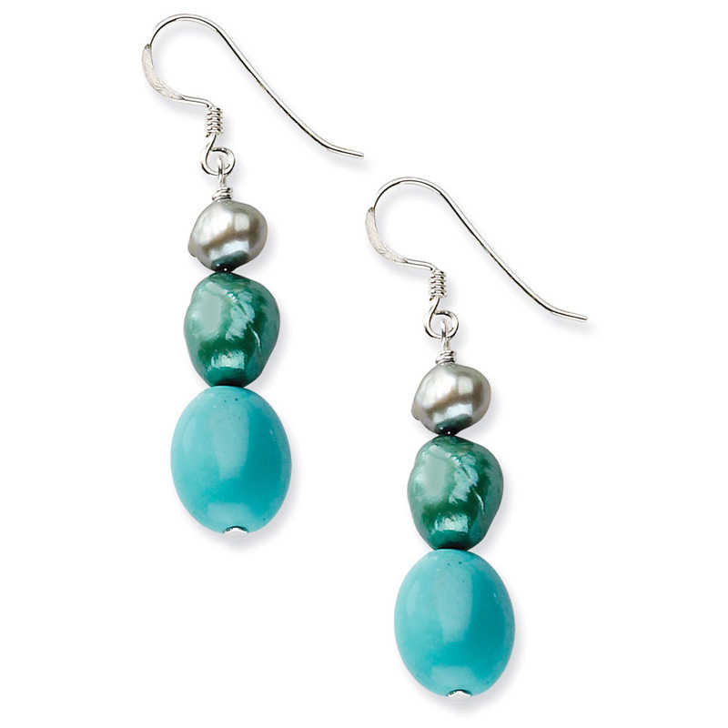 Sterling Silver Green Turquoise/Green Freshwater Cultured Pearl Earrings
