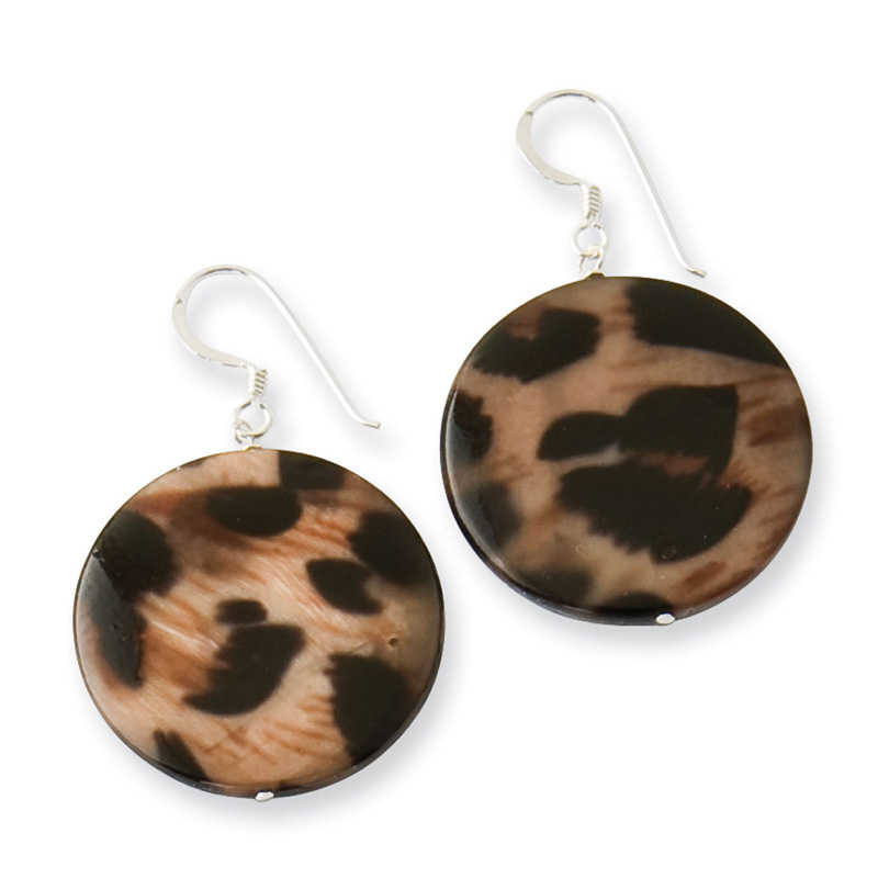 Sterling Silver Large Mother of Pearl Animal Print Disc Earrings