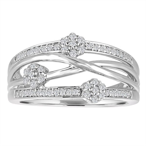 Diamond Blossom Womens 1/4 CT. T.W. Genuine White Diamond Sterling Silver Cocktail Ring