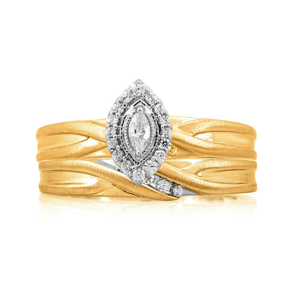 1/4 CT. T.W. Diamond 14K Yellow Gold Marquise Bridal Ring Set