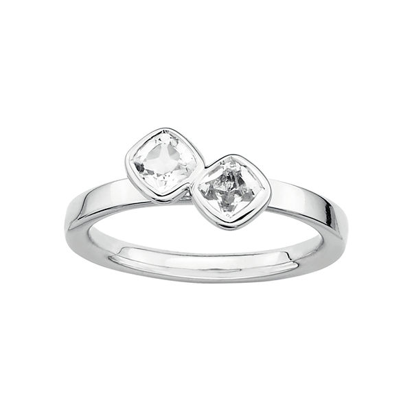 Personally Stackable Sterling Silver Genuine White Topaz Ring