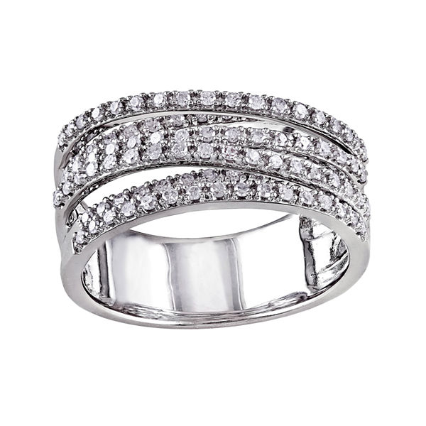 1/2 CT. T.W. Diamond Sterling Silver Crossover Ring