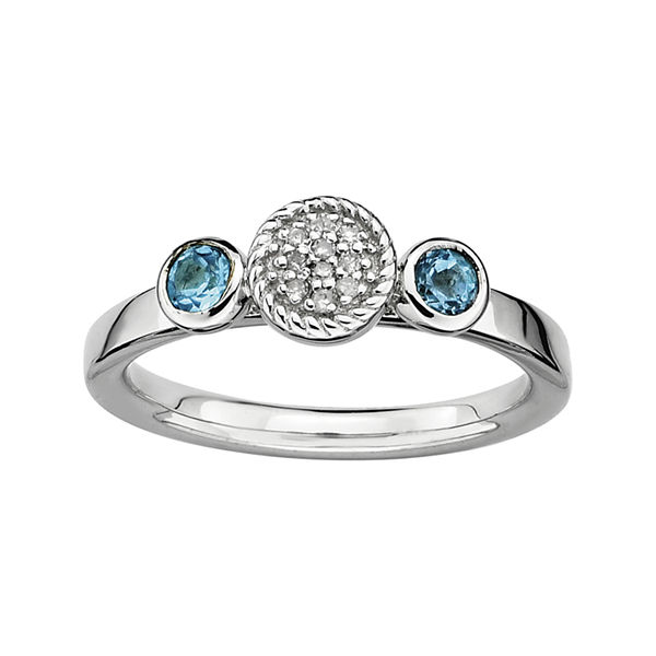 Personally Stackable Double Blue Topaz & Diamond-Accent Ring