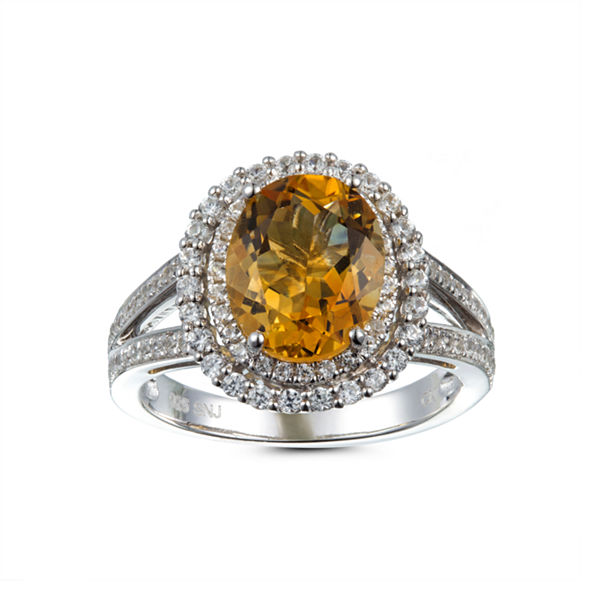 Womens Yellow Citrine Sterling Silver Halo Ring